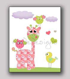 Girl Nursery Art Giraffe owls and Birds in PINK by maudedesigns, $16.00