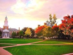 The Johns Hopkins University in Baltimore, Maryland.  Such a beautiful campus.  Being a child of the desert, seeing so much green took my breath away.  Oh and I had never seen so much marble on a school campus in my life!