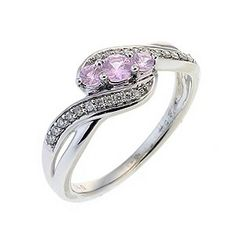 9ct White Gold Diamond and Pink Sapphire 3 Stone Pave Ring - Product number 6487394