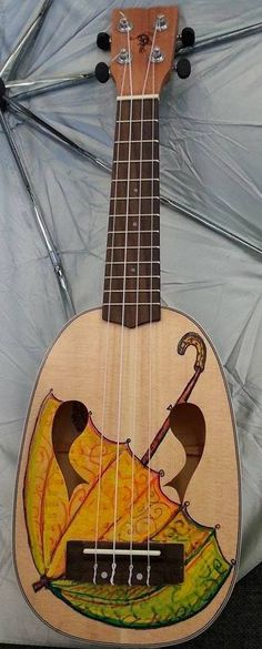 Fish Ukuleles custom Umbrella Jazzfish Pineapple --- https://www.pinterest.com/lardyfatboy/