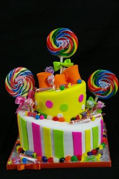 I had a cake like this for my daughter's candy land party..Really cute idea