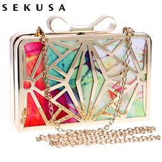 Aliexpress.com : Buy 2017 New Fashion Women Handbags Metal Patchwork Shinning Shoulder Bags Ladies Print Day Clutch Wedding Party Evening Bags bh507 from Reliable evening bags suppliers on SEKUSA EVENING BAG Store
