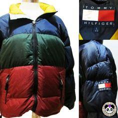 Vtg 90s Tommy Hilfiger Down Puffer Coat Jacket Color Block Flag Hip Hop Sz L  #TommyHilfiger #Puffer #90s #hiphop #colorblock