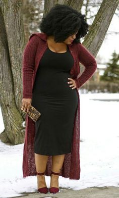a formfitting midi dress more casual for daytime by adding a cozy cardigan  Read more:http://www.gurl.com/2016/01/09/style-tips-on-how-to-wear-long-cardigans-this-winter-outfit-ideas/#ixzz4h9AtQI1k #mididress