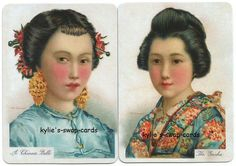 Q54 PAIR swap playing cards MINT COND named Japanese & Chinese ladies girls