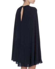 Valentino Short Cape-Back Silk Dress
