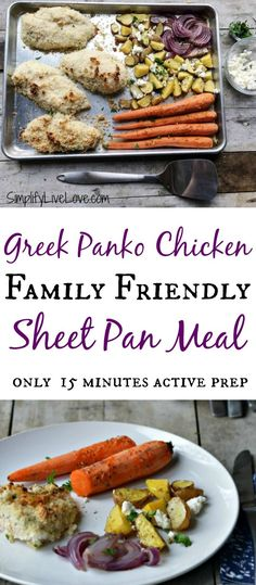 Greek Panko Chicken - Family Friendly Sheet Pan Meal. Comes together with only 15 minutes active prep! #ad