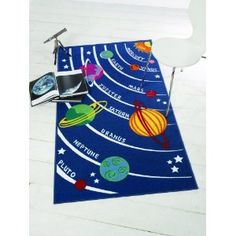 Outer Space Bedroom Rug - Planets and our Solar System: Amazon.co.uk: Kitchen & Home