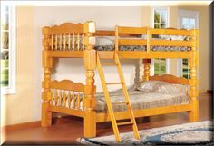 Bunk Beds With Stairs Wood Honey Oak Twin Over Twin Kids Bedroom Furniture  | eBay