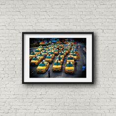 Car Wall Art, City Car, Taxi, Manhattan, Brooklyn, Nyc, York, The Originals, Yellow