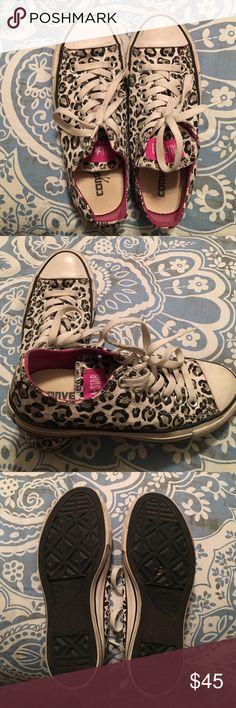 White, Black, Grey & Pink Leopard Converse  Size 7 LIMITED EDITION White, Black, Grey & Pink Leopard Converse Size 7 Lightly Worn Converse Shoes Sneakers