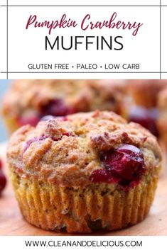These Pumpkin Cranberry Muffins are great for breakfast, before or after a workout, or as a travel snack for busy families. Made with coconut flour and sweetened with maple syrup, these are a healthy and easy way to celebrate fall flavors. Gluten Free Pumpkin, Healthy Pumpkin, Vegan Pumpkin, Pumpkin Recipes, Pumpkin Cranberry Bread, Cranberry Recipes Paleo, Paleo Pumpkin Muffins, Paleo Dessert, Appetizers