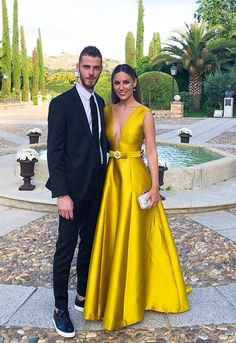 Deep V-Neck Long Prom Dress, Satin Yellow Formal Dress with Belt, Yellow Evening Dresses Yellow Formal Dress, Yellow Evening Dresses, Evening Gowns, Formal Dresses, Evening Party, Sexy Party Dress, Prom Party Dresses, Bridesmaid Dresses, Fashion Dresses