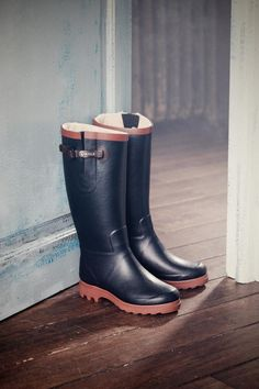 Aiglentine Fur Navy | Natural Handcrafted Rubber Boots