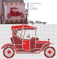 Benim gibi eski otomobillere merakınız varsa, üçlü bir seri paylaşacağım sizinle...(old Car-1) Desined and stitched by Filiz Türkocağı.
