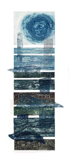 Sue Lowe 'Sea Strands' Collagraph print with chine colle. Inspired by the layers and causeways of our beautiful West Somerset coast.