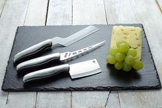 4pc Slate Cheeseboard & Culinary Set