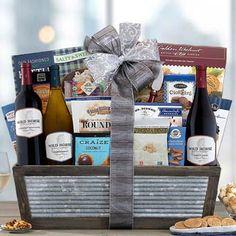Wine Gift Baskets - Wild Horse Trio Wine Basket Wine Country Gift Baskets, Wine Baskets, Pinot Noir, Wine Gifts, Wild Horses, Wines, Bottle, Flask, Wild Mustangs