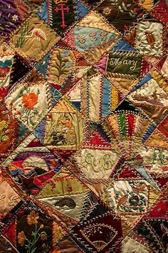 "Beautiful! The description card says, ""Crazy Quilt 1883-1893"" - Silk, cotton, wool, and linen, pieced and embroidered with silk and cotton threads - Crazy quilts, which emerged after 1850, were usually composed of small, irregular-shaped fragments of silk, wool, and other fragments pieced together. The seams were then embroidered using a variety of stitches. They acquired the name ""crazy quilts"" because of the strong colors and busy, confusing nature of their designs, typical of Victorian…"