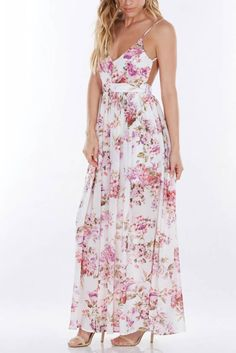 This floral print maxi dress will leave them breathless this Spring! Dress it up with heels or dress it down with sandals.
