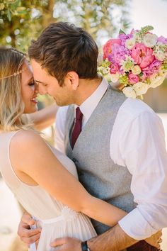 modern bride and groom about to kiss, bride with jewelry headpiece http://itgirlweddings.com/kate-spade-inspired-wedding/