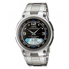 Casio Mens Ana-digi Quartz Silver Band Black Dial