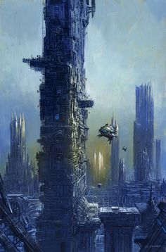 Auriga by Les Edwards. Another piece added to my collection of Futurescapes (if that is the correct term). I love pictures of future cities and Les Edwards is amongst the best artists for this type of work.