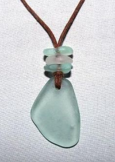 Sea Beach Glass Necklace Seafoam Clear by beadsofthesea on Etsy, $20.00 by fanny