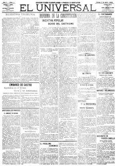 """El día 1° de abril de 1909 circula por primera vez el diario """"El Universal"""". Desde su sede de Sociedad a San Francisco, número 6, se publican en cuatro páginas, a un precio de dos centavos por ejemplar, las más resaltantes noticias nacionales, políticas, internacionales, culturales, sociales o de sucesos. La circulación aumenta de 8.000 a 8.500 ejemplares diarios en menos de dos meses, y el diario dirigido por el poeta Andrés Mata se vuelve el favorito de lectores y anunciantes por igual."""