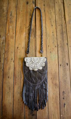 NZFINCH dark brown fringed leather pouch with vintage doily