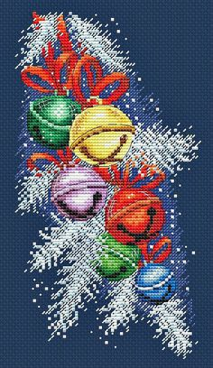 Cross Stitch Chart Christmas Girl and Presents   ideal card size FlowerPower37