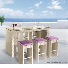 Bar Counter and Chairs (7062) Bar Chair : 35*35*72. Usage : Rattan, Outdoor, Garden, Bar. Color : at Your Option. Bar Counter : 180*60*110. Quality Warranty : 1-2 Years on Contact. Bar Counter and Chairs(7062) 1. Usage: Bar, Rattan, Outdoor, garden 2. Bar counter: 180*60*110 Bar Chair: 35*35*72 3. 1.2mm Aluminum frame with high quality powder coated; Strengthened flat PE rattan; 320-360g UV resistant and waterproof polyester fabric; 8cm seat cushion within foam; 5mm tempered glass top 4. Pa Wicker Table, Wicker Sofa, Wicker Furniture, Outdoor Furniture Sets, Furniture Ideas, Wicker Dresser, Wicker Man, Wicker Trunk, Wicker Shelf