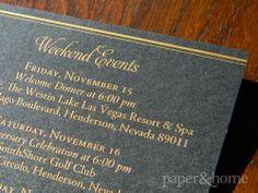 Golden Anniversary Invitations Las Vegas: Jean & Howard. Golden Anniversary Event Card Gold Foil on Black Shimmer Paper.