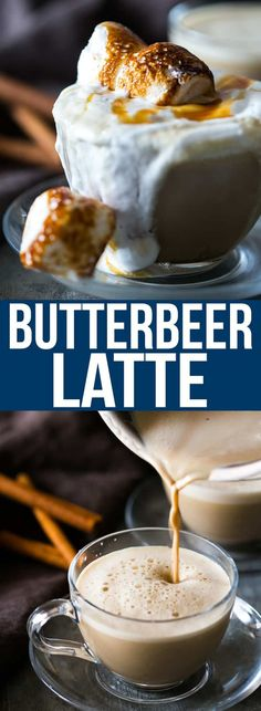 Best homemade butterbeer latte made with coffee, toffee and topped with marshmallows. Just like Starbucks! Make it adult with some whiskey. via Drinks Best Marshmallow Butterbeer Latte for Harry Potter fans Tea Recipes, Coffee Recipes, Cooking Recipes, Healthy Recipes, Toffee, Marshmallows, Butterbeer Latte, Cinnamon Coffee, Good Food
