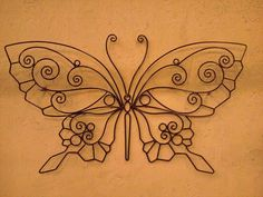 Wrought iron butterfly Wire Crafts, Metal Crafts, Wrought Iron Decor, Copper Art, Steel Art, Iron Furniture, Shape Crafts, Iron Art, Wire Weaving
