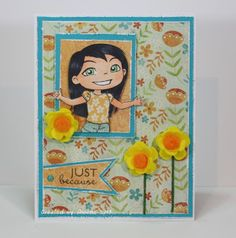 """Handmade card featuring """"Summer Yumi"""" image from @?? ? Fumi Handmade, patterned papers from #mymindseye, sentiment and flag die from @Vanessa Samurio Jacky-Davis Stamps"""