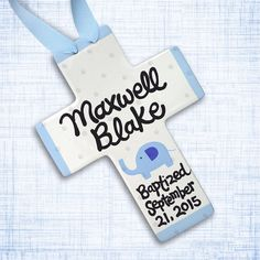 Personalized Baptism Cross - Hand painted ceramic baptism gift. Celebrate your special little one with this sweet ceramic cross!!! Among most cherished keepsakes, this cross will always be a small reminder of baby's special day. This is a permanent, high quality keepsake.