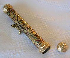 Outstanding Gold Enameled 2 Needle Cases in Case   eBay