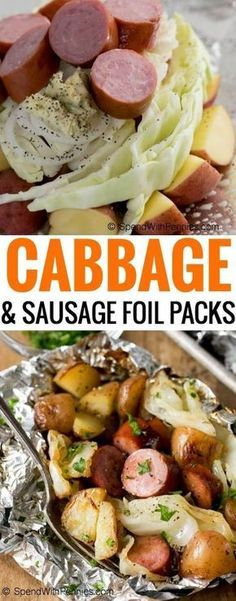 Cabbage and Sausage Foil Packs contain tender potatoes, smoky sausage, onion and sweet cabbage seasoned with garlic butter and all cooked in a tidy little packet on the grill! (Sausage Recipes For Dinner) Grilling Recipes, Pork Recipes, Cooking Recipes, Healthy Recipes, Potato Recipes, Healthy Meals, Recipies, Turkey Kielbasa Recipes, Bulk Cooking