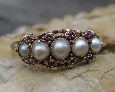 Clouds of Pearls & Rubies Victorian Ring 14k, Shop Rubylane.com