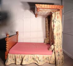 Victorian Satin Birch King Size Half Tester Bed - Antiques Atlas & Antique Half Tester Bed - Local Pickup Only - Sedalia Missouri on ...