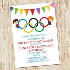 Printable Olympic Games Birthday Invitation Kids Birthday Party - Olympic party invitation template