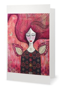 BLANK CARD 'Dream'  mixed media artwork by by MrsButtonsEmporium