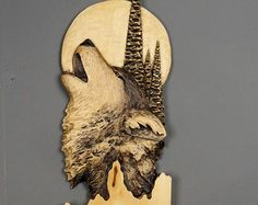 Bear Carveing on Wood Wood Carving with Bark Hand by DavydovArt