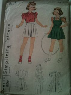 #Simplicity3357. Girls' jumper, shorts and blouse, size 4. Looks to be from the 1930's.