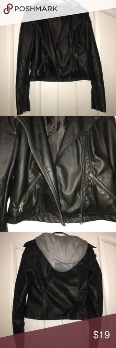 leather jacket full tilt leather jacket with a grey hood you can take off if you want. ONLY WORN ONCE Tilly's Jackets & Coats