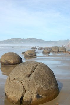These rocks are incredible, like someone just dropped them there. Moeraki boulders, New Zealand