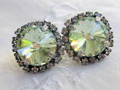 Soft green Swarovski stud earrings Antique by EldorTinaJewelry, $38.00