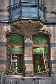 beautifully crafted Art Nouveau windows in Ixelles, Belgium