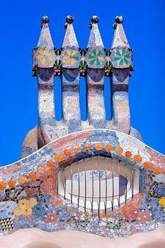 Chimneys at the roof terrace of 'Casa Batlló' (Gaudi) by David Cardelús